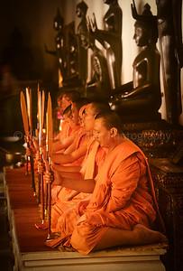 Monks Performing Ceremony, Wat Benchamabopitr, Marble Temple, Bangkok, Thailand, Southeast Asia,