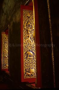Wat Mahaprutharam Temple, Window Shutter, Bangkok, Thailand, Southeast Asia,
