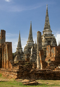 Ruins of Ayutthaya, Buddha & Chedis in the Wat Phra Si Sanphet, Thailand, Southeast Asia,