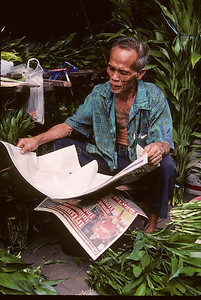 Man Reading Paper, Flower Market, Thailand, Southeast Asia,