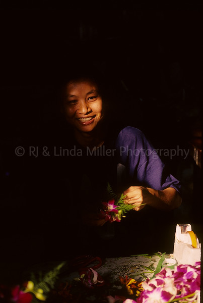 Woman in Flower Market, Thailand, Southeast Asia,