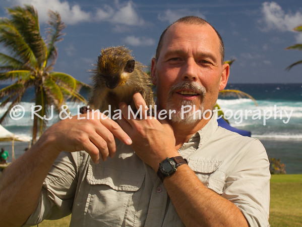 RJ With Monkey, Barbados, Lesser Antillies, West Indies, Caribbean