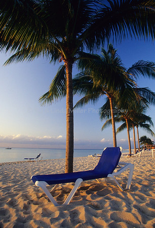Lawn Chair on Beach on Cozumel Island, Mexico, Caribbean