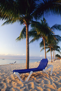 Lawn Chair on Beach on Cozumel Island, Mexico, Caribbean