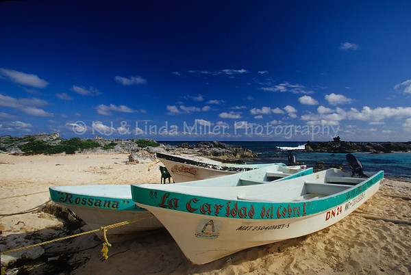 Fishing Dories on Eastern Shore of Cozumel, Mexico