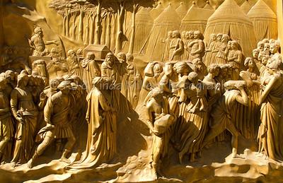 "Battistero di San Giovanni, ""Gates to Paradise"", Baptistry Door Details, Piazza del Duomo, Florence, Italy"