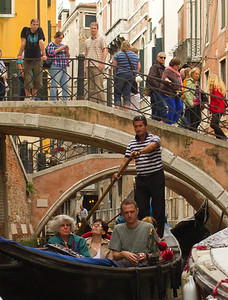 Tour Group in Gondolla, Canal, Venice, Venezia, Italy