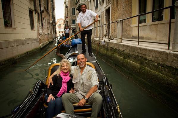 Tour Group in Gondolla, Canal, Venice, Venezia, Italy