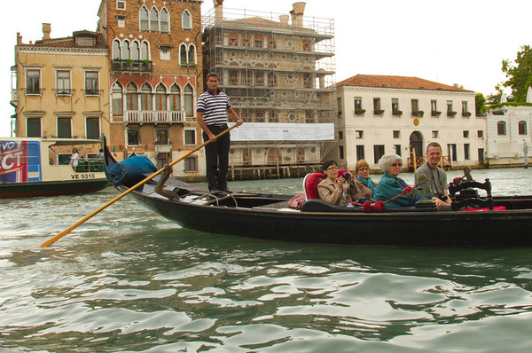 Tour Group in Gondolla, Venice, Venezia, Italy