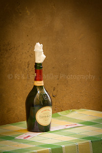 Bottle of Wine on Table, Lucca, Italy, Europe