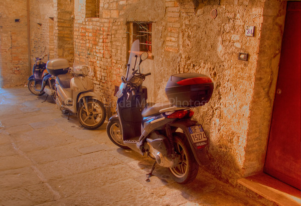 Narrow Alley & Scooters, Siena, Italy