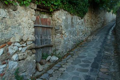 Narrow Street and Wooden Doorway, Sorrento, Italy