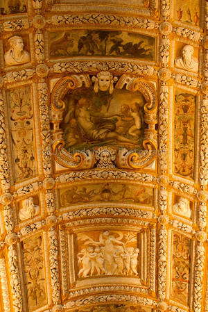 Ceiling of the Scala d'Oro leading to the upper floor of the Doge's Palace, Venice, Venezia, Italy