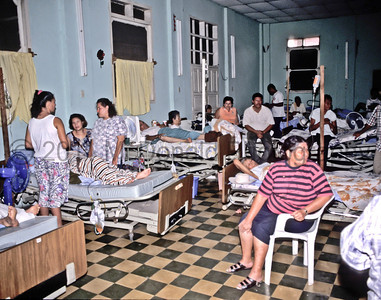 Visiting hours at the hospital ward.