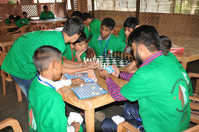 The kids settle in with a game of chess