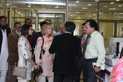 Laurie Kelley meets with Dr. Jafry,  head of Husaini Blood Bank
