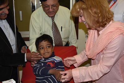 Laurie greets little patient