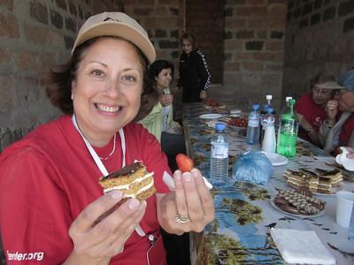 11 05-10  Dianne Fuller enjoying strawberries and cake.  LF