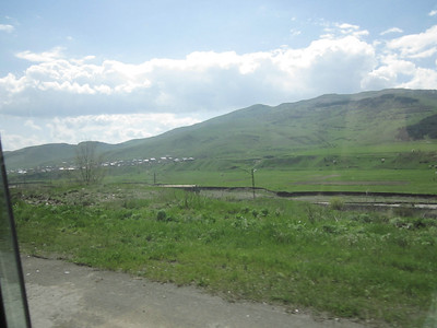 2011 05-11 View from the highway - Freight train running through Vanadzor area.  LF