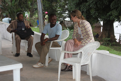 Leah Lyman Waldron talks to friends Mbandaka.