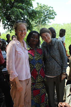 Leah Lyman Waldron, left, and Leslie O'Tool, right, with a friend in Bolomba.
