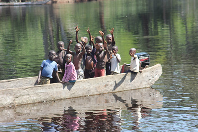 Children in the Ikalemba River.
