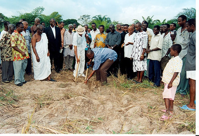 08 10-05 Agomeda, Shai - A representative of the DCE is cutting sod. jg