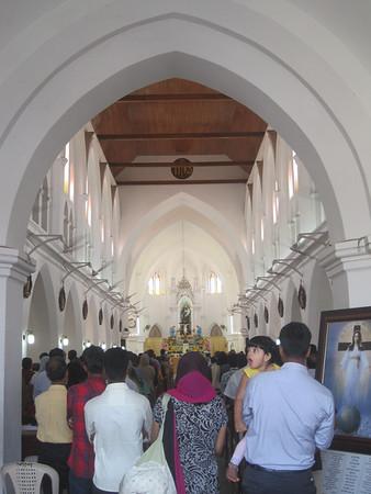 Inside a Catholic church.