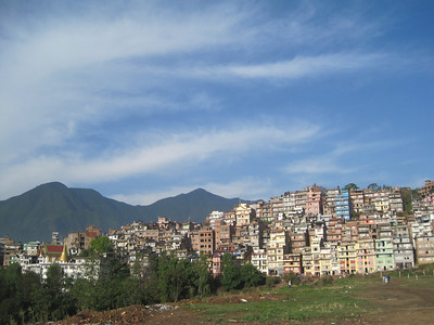 Nepal - A lot of vertical building with narrow lanes between each row of houses.