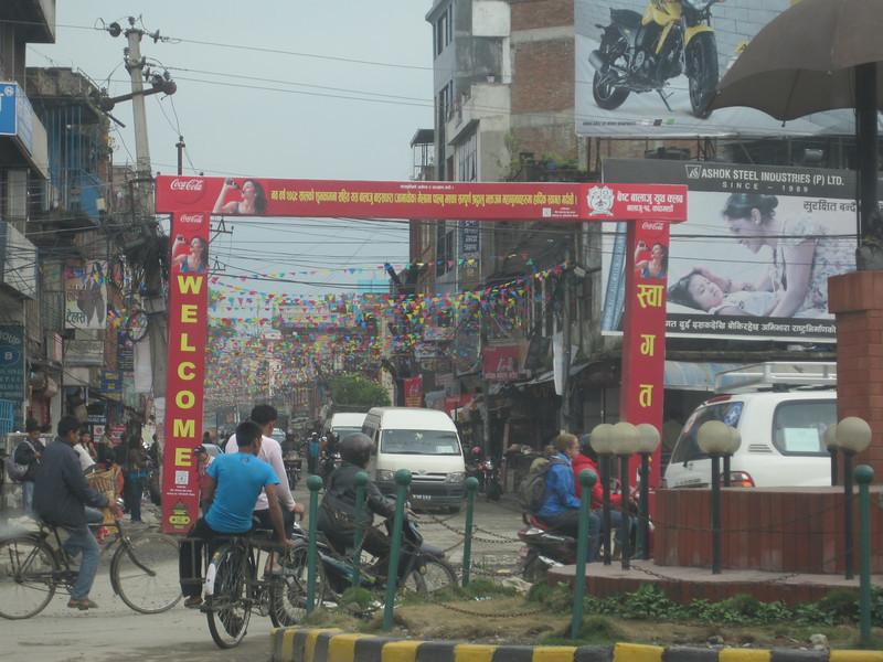 Typical urban street scene in Nepal.
