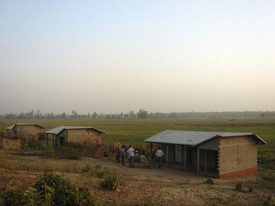 10 04-21  Three of the 12 houses completed in Kankad.  GBT