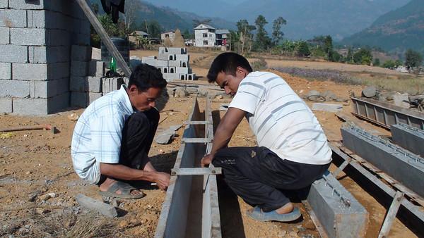 Second Fuller Center house in Trishuli Contructing precast RCC beams