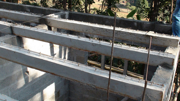 Precast beam laid  for first house