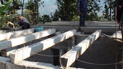 Precast beams laid
