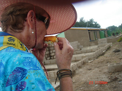 Wanda Smith, veteran team leader enjoys some fire-roasted corn on the cob.