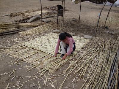 09 07  A local woman weaving a bamboo wall.  j&mf