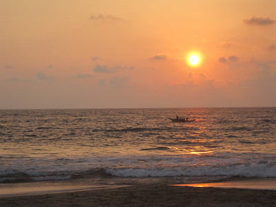 The sun sets over the Indian Ocean.