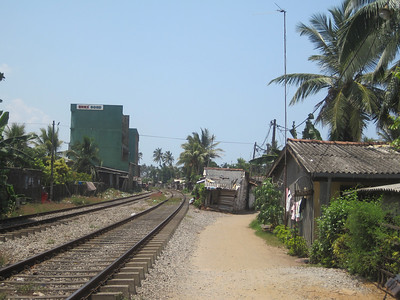 Shacks near the tracks in Sri Lanka.