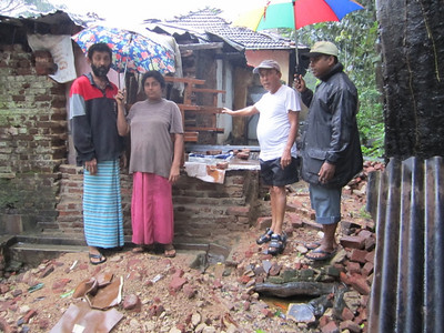 2011 01-10 Shamali , her husband and 2 children live in Dambulla. A side wall of their house has come down and their lives are in danger of entire house collapsing and other dangers as well.   rj