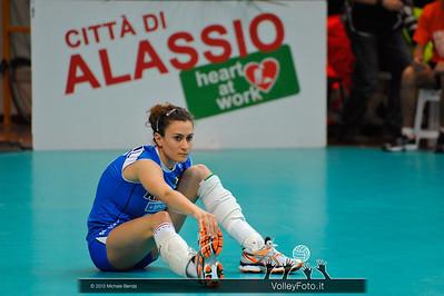 Lucia Bosetti durante la fase di preparazione al match Italia Brasile - Alassio Cup Italia-Brasile, Alassio Cup