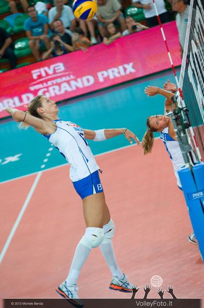 Valentina Arrighetti [ITA] spikes the ball set by Noemi Signorile [ITA]