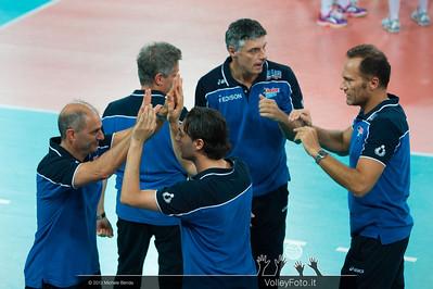 Italia staff: Marco Mencarelli [ITA Coach], Paolo Tofoli [ITA Assistant Coach], Matteo Bertini [ITA 2nd Assistant Coach]