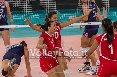 Tunisia, celebrates after scoring a point