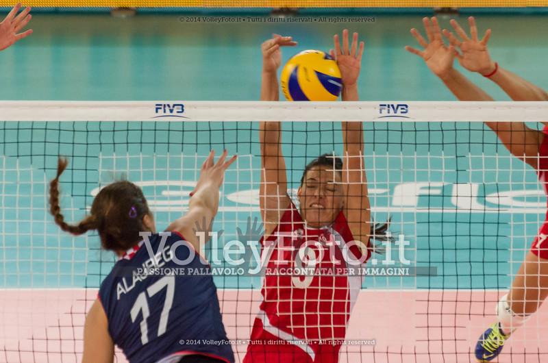 LENGLIZ Maissa, blocks the ball spiked by, Jelena ALAJBEG