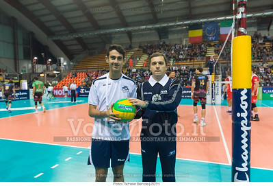 2nd referee, Pawel BURKIEWICZ, hands the ball to the guy, Vincenzo ANCORA