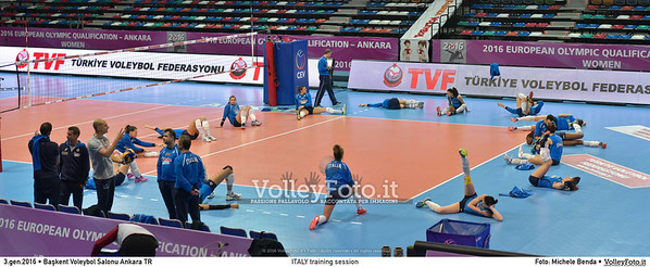 ITALY training session 2016 European Olympic Qualification - Women | Başkent Voleybol Salonu Ankara, Türkiye, 03.01.2016 FOTO: Michele Benda © 2016 Volleyfoto.it, all rights reserved [id:20160103.MB2_5978-Pano]