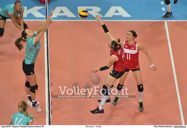 Germany - Turkey POOL A - 2016 European Olympic Qualification - Women | Başkent Voleybol Salonu Ankara, Türkiye, 05.01.2016 FOTO: Michele Benda © 2016 Volleyfoto.it, all rights reserved [id:20160105.MB2_8444]
