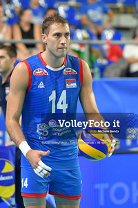 Aleksandar ATANASIJEVIĆ, #14 of Serbia durante AUSTRALIA vs SERBIA, 2019 FIVB Intercontinental Olympic Qualification Tournament - Men's Pool C IT, 9 agosto 2019. Foto: Michele Benda per VolleyFoto.it [riferimento file: 2019-08-09/ND5_5106]