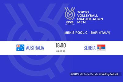 AUSTRALIA vs SERBIA, 2019 FIVB Intercontinental Olympic Qualification Tournament - Men's Pool C IT, 24 luglio 2019. Foto: Michele Benda per VolleyFoto.it [riferimento file: 2019-07-24/FIVB-IOQT-Cover1]