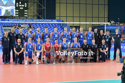 Serbia durante AUSTRALIA vs SERBIA, 2019 FIVB Intercontinental Olympic Qualification Tournament - Men's Pool C IT, 9 agosto 2019. Foto: Michele Benda per VolleyFoto.it [riferimento file: 2019-08-09/ND5_5101]